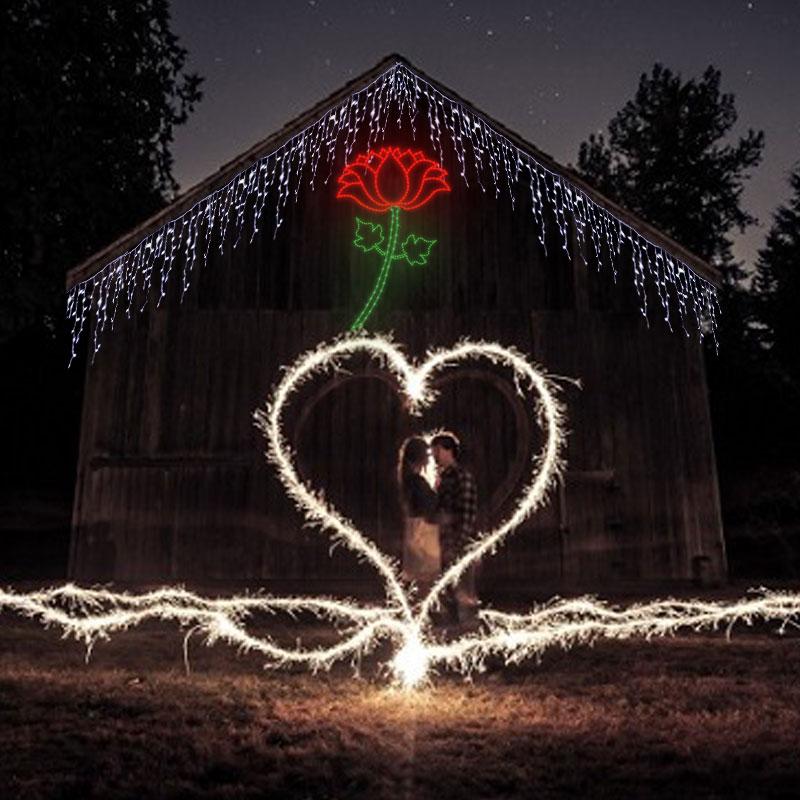 sevgililer günü bahçe ışık süsleme